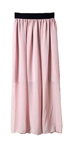 Aoliait Femme Jupe Mousseline ElGant Jupe Longue Grande Taille Femelle Skirt Taille Extensible Jupe Glamour Jupe Pink