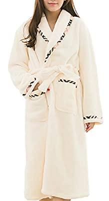 Femaroly Women Warm Bathrobe Ladies Autumn Winter Fleece Dressing Gown Night Robes Housecoat