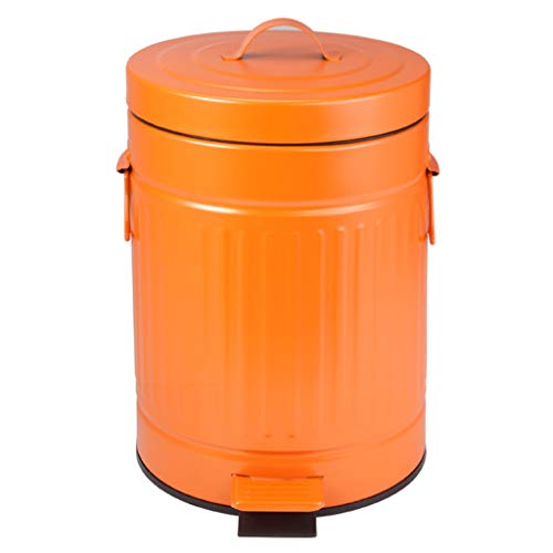 JOAHCHEN Retro Style Garbage Can,Household Step Pedal Garbage Bin,Kitchen Trash Can with Inner Bucket,5L,20x20x27cm,Orange (Trash Can Orange)