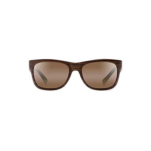 Maui Jim Kahi H736-25W   Polarized Matte Brown Wood Grain Wrap Frame Sunglasses, with with Patented PolarizedPlus2 Lens ()