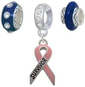 Inspirational Pink Ribbon Navy Charm Beads Set of 3