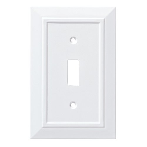 Design Single Outlet Switchplate Cover - Franklin Brass W35241-PW-C Classic Architecture Single Switch Wall Plate/Switch Plate/Cover, White