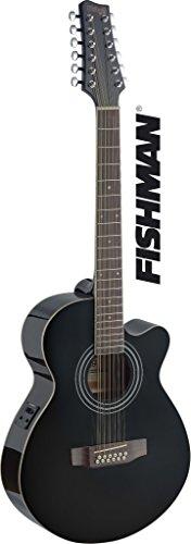 K Mini Jumbo 12 String Electro-Acoustic Guitar, Black ()