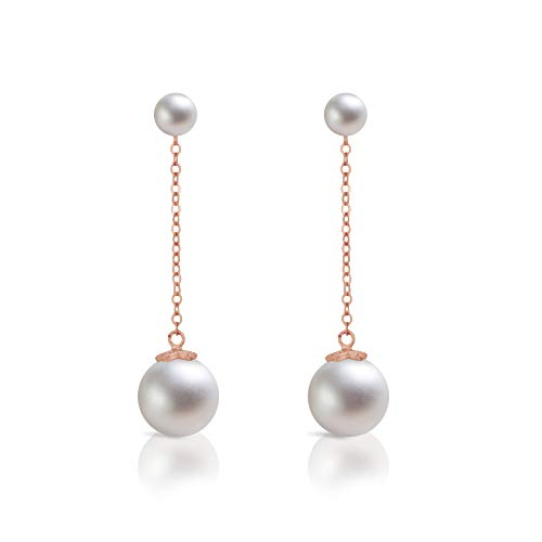 Dokreil Double Pearl Stud Long Drop Women's Dangle Earrings 925 Sterling - Rose White Dangling