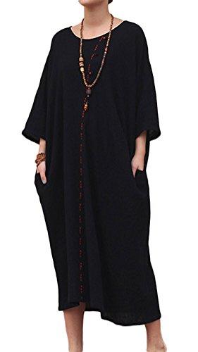 3/4 sleeve linen dress - 4