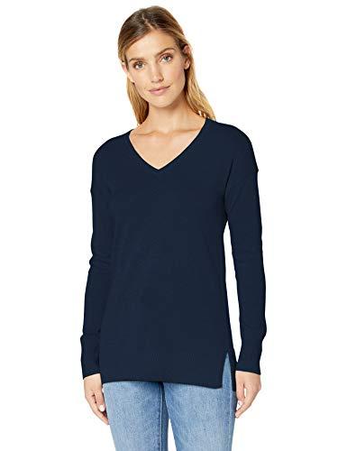 (Amazon Essentials Women's Lightweight V-Neck Tunic Sweater, Navy, Medium)