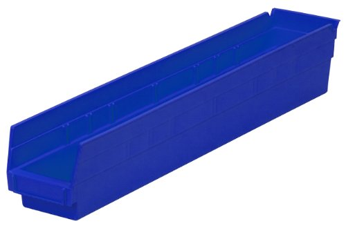 Akro-Mils 30124  24-Inch by 4-Inch by 4-Inch Plastic Nesting Shelf Bin Box, Blue, Case of 12