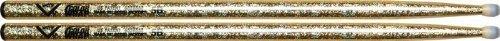 Vater Percussion Color Wrap 5B Drumsticks, Gold Sparkle, Nylon Tip
