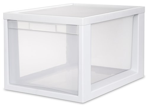 Sterilite 23658004 Medium Tall Modular Drawer, White Frame with Clear Drawers, 4-Pack by STERILITE