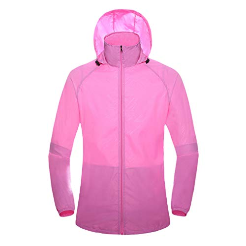 Lightweight Windbreaker,ONLY TOP Women's Men's Water Resistant Windbreaker Front-Zip up Bicycle Jacket Pink