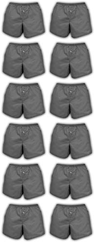 Basics Classic Men's 12 Pack & 18 Pack Woven Boxers Sleep Shorts Travel Pack Collection (X-Large, 12 Pack- Dark Grey)