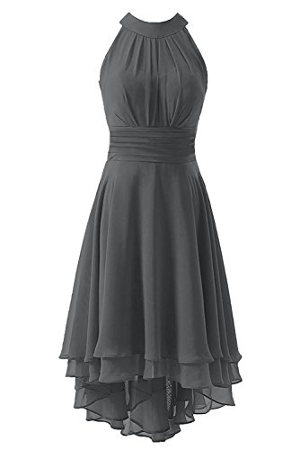 Kevins Bridal Women's High Low Short Bridesmaid Dresses Chiffon Halter Prom Dress Grey Size (Halter Knee Length Dress)