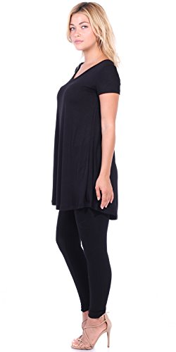 287bd12549d Popana Women s Short Sleeve Tunic Top Loose Fit Shirt - Wear With Leggings  Plus Size -