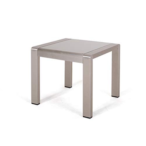 Giovanna Coral Outdoor Aluminum Side Table with Glass Top, Matte Gray and Silver Finish ()
