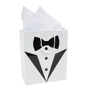 Cool Fun 3-8805 PaPer Medium Tuxedo Wedding Gift Bag - 12 count
