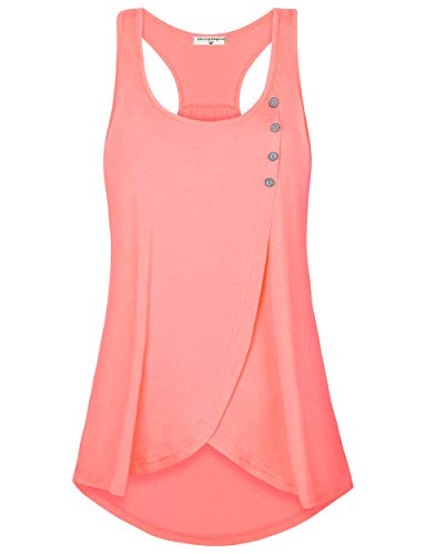 (Derminpro Tunic Tops for Leggings, Women's Summer Exercise Sleeveless Loose Blouses Juniors Active Tank Coral Large)