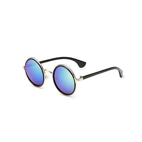 NYKKOLA Unisex's Round Mirror Polycarbonate Sunglasses Blue