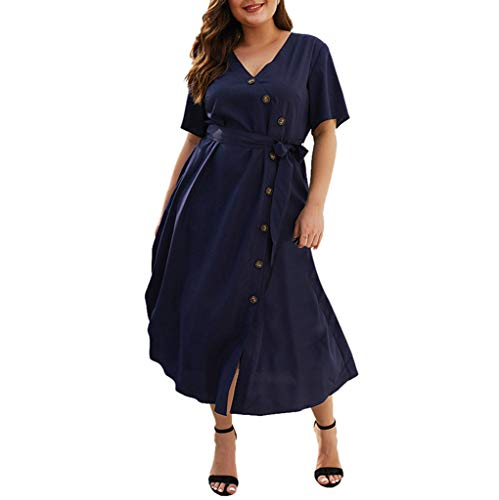 CCatyam Plus Size Dresses for Women, Skirt V Neck Dot Print Button Sexy Casual Summer Party Fashion Navy