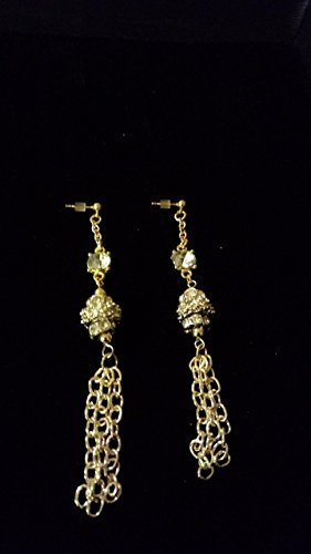 Faceted Crystals and Chain Statement Earrings