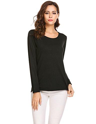 SoTeer Women's Off Shoulder Sweater Casual Long Sleeve Loose Pullover Sweatshirt Winter Tops, Black, Medium