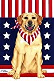 Yellow Labrador Retriever – by Tomoyo Pitcher, Patriotic Themed Dog Breed Flags 12 x 18 For Sale