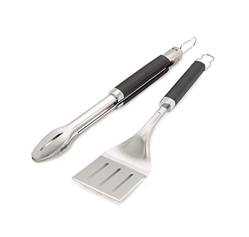 Weber 6763 Precision Grill Tongs & Spatula Set Premium Grillbesteck-2-teilig, Schwarz/Silber