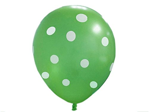 Green Polka Dot Balloons (10 Pack) - 12 Inch Inflatable Latex Balloons, Green Birthday Party Decorations, Polka Dot Green Wedding Supplies (Green Polka Dot Balloons)