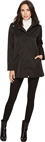 Lauren by Ralph Lauren Women's Stand Collar Anorak With Faux Leather Details Black X-Small (Faux Leather Trim Trench Coat Ralph Lauren)