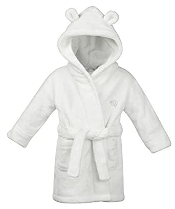 Baby Dressing Gown White Hooded With Ears Soft Fluffy Feel 6-12 12 ...