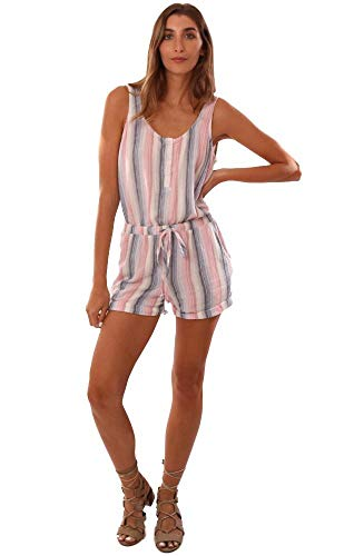 Bella Dahl Rompers Button Front Tie Waist Summer Striped Tank Romper - Blue/Pink/White - S