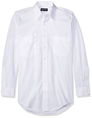 (Van Heusen Men's Pilot Dress Shirt Long Sleeve Commander, White, 14.5