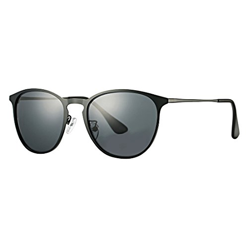 Vintage Erika Style Polarized Metal Sunglasses COASION Retro Round Mirror Flat Lens Shades Unisex (Black Frame/Black Lens, - Erika Glasses