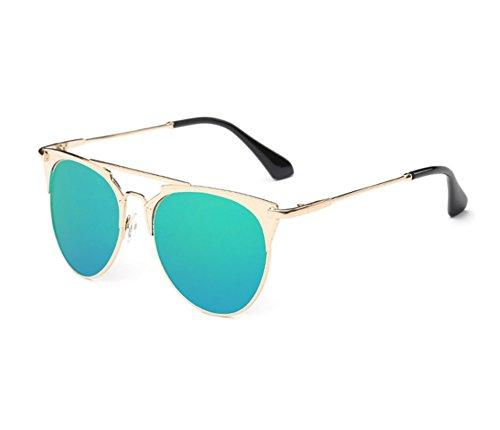 no redondo retro Hellomiko polarizadas las marco protección del Forme de sol piloto UV400 del metal de gafas la a marco Verde 8twf7rq8