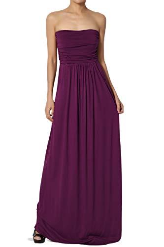 TheMogan Women's Strapless Draped Jersey Pocket Long Maxi Dress Dark Plum M ()
