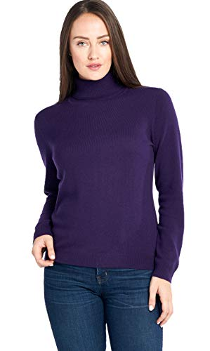 Mariyaab Women's 100% Cashmere Soft Long Sleeve Turtleneck Sweater (1303, Indigo, ()