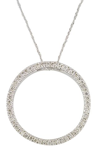 Women's Large Open Diamond Circle Pendant Necklace 14k White Gold 1.00 cttw