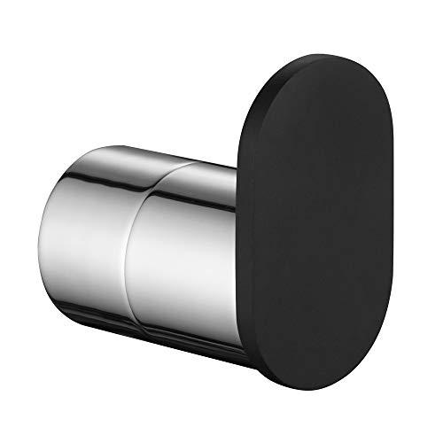Robe Towel Hook Chrome and Black, APLusee SUS304 Stainless Steel Round Utility Coat Holder, Modern Bathroom Kitchen Toilet Washcloth Hanger ()
