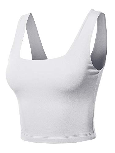 - Made by Emma Junior Basic Seamless Square Neck Sleeveless Crop Tank Top White M