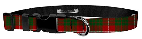 (Moose Pet Wear Dog Collar - Patterned Adjustable Pet Collars, Made in the USA - 1 Inch Wide, Medium, Red Tartan)