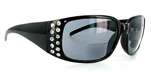 Price comparison product image Rhinestone bifocal suglasses for Women (Black +1.50) free carrying case included