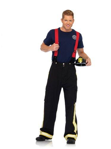 Leg Avenue Men's 3 Piece Fire Captain Costume, Black/Red, X-Large