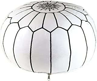 Moroccan Handmade Pouf Genuine Leather White Color Black Stitching unstuffed