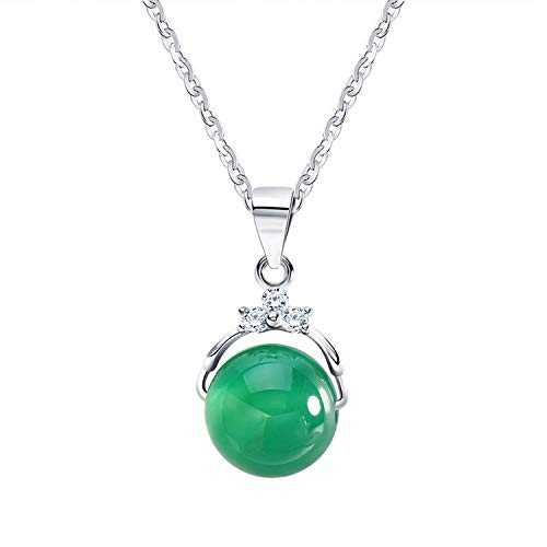 Round Real 925 Sterling Silver Jewelry Pendant Necklace with Shiny Green Cat's Eye Stone for Women Birthday Gift,S01