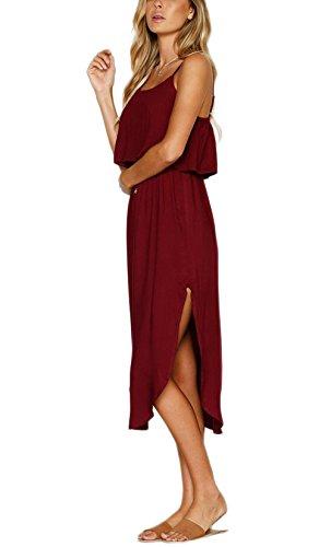 Dress Casual Strappy Split Adjustable Wine Beach Red Midi Women's Summer NERLEROLIAN YqB8Z8