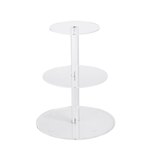 YestBuy 3 Tier Round Wedding Party Acrylic Cake Cupcake Tree Tower Maypole Display Stand 1 pc/Pack (3 Tier Round(6