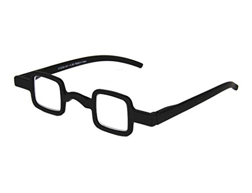 Small Square Womens Mens Unisex Full Rim Reading Glasses Readers (Black, 2.50)