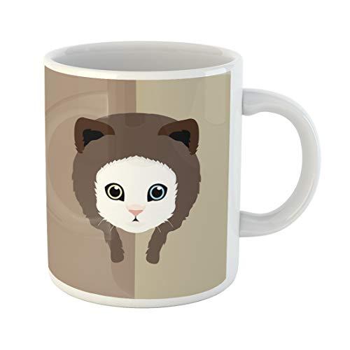 Semtomn Funny Coffee Mug Animal a Cat Wearing Fur Hat Turkish Angora Ankara Background 11 Oz Ceramic Coffee Mugs Tea Cup Best Gift Or Souvenir
