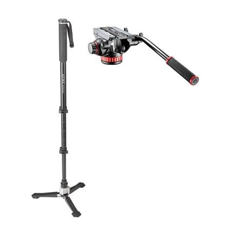 Libec HFMP Hands-Free Monopod with Carrying Case With Manfrotto MVH502AH Pro Video Head with Flat Base by Libec