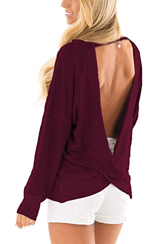 Yingkis Womens Backless Long Sleeve Shirts Sexy Open Back Cross Blouses Loose Tops Sweater