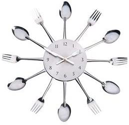 Pendule Heure Murale Horloge Inox Originale Cuisine Couverts